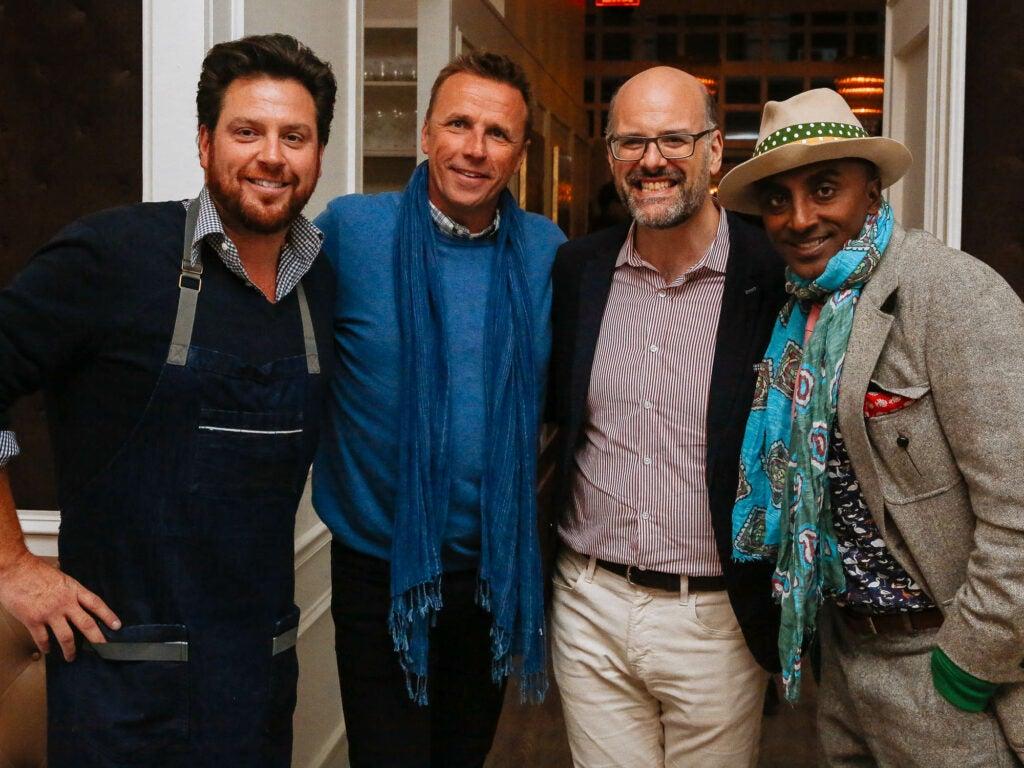 Chef Scott Conant, Chef Marc Murphy, Mitchell Davis, and Chef Marcus Samuelsson make for an impressive looking crew at Fusco.