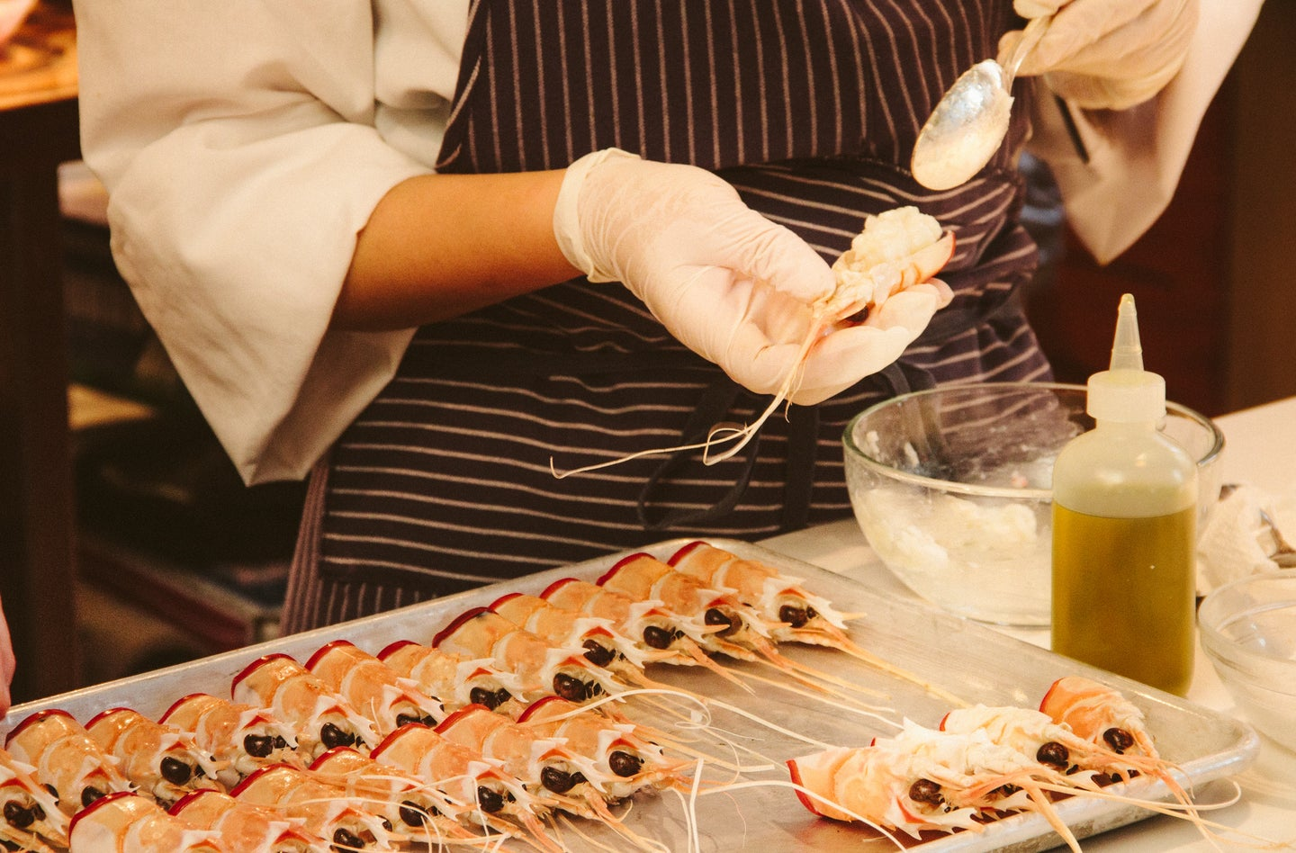 Prawn heads double as bowls for caviar and crab meat.