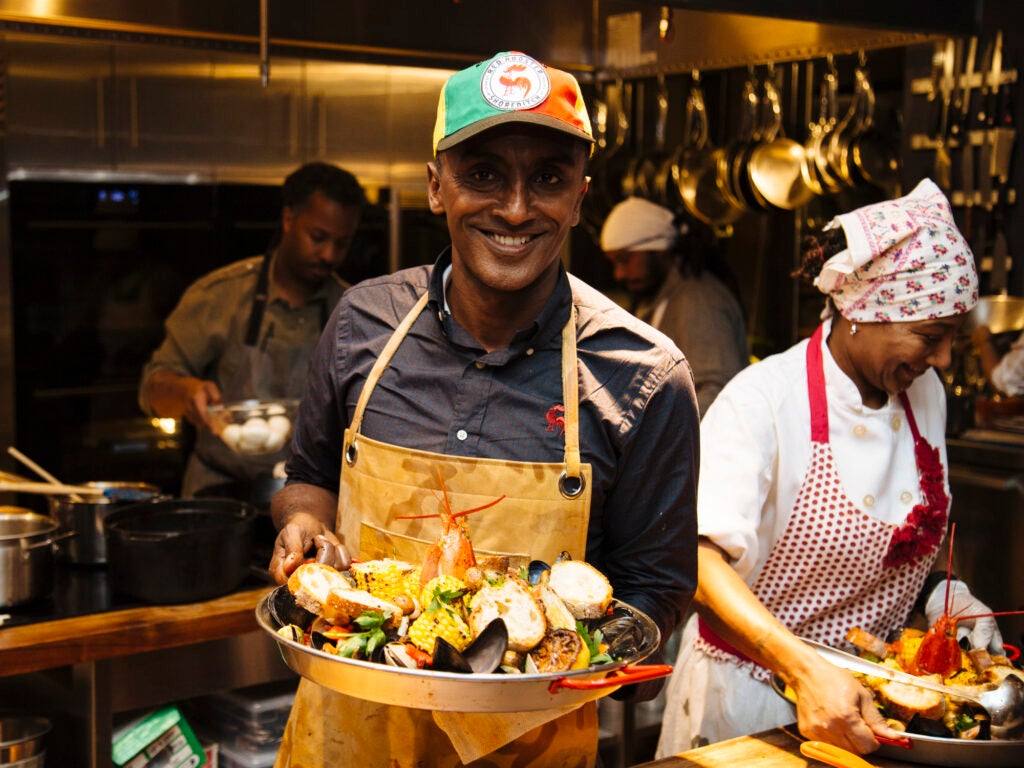 Marcus Samuelsson and his giant plate of Harlem chowder