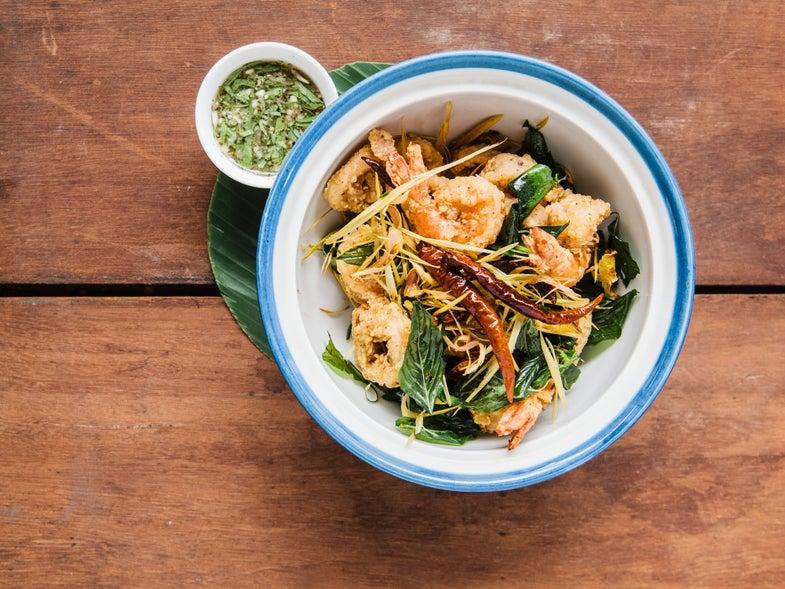 Crispy Calamari and Prawns with Pepper–Lime Sauce