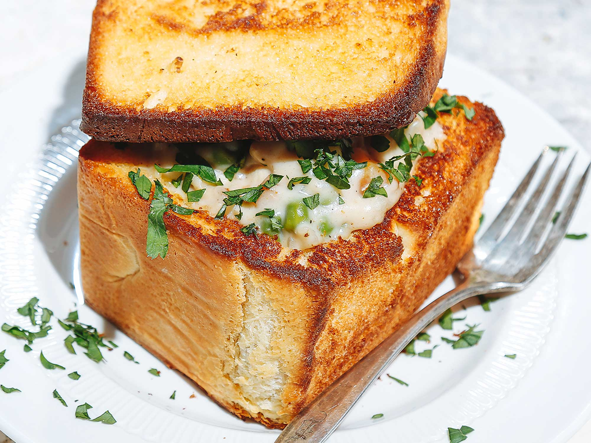 Chicken Blanquette Coffin Bread