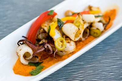 Lazy Goat's Grilled Calamari with Ahi Dolce Romesco