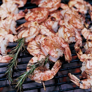Skewered Shrimp on Rosemary Branches