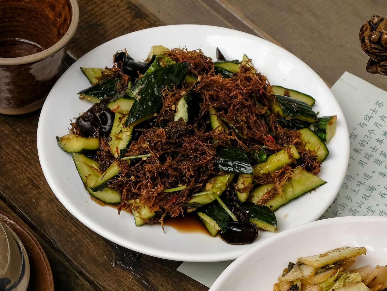 Mushroom and Cucumber Salad (Liang Ban Huanggua)