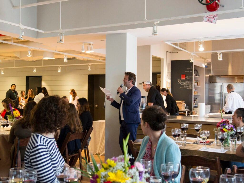 Editor in Chief Adam Sachs greets the finalists at lunch in the Saveur kitchen