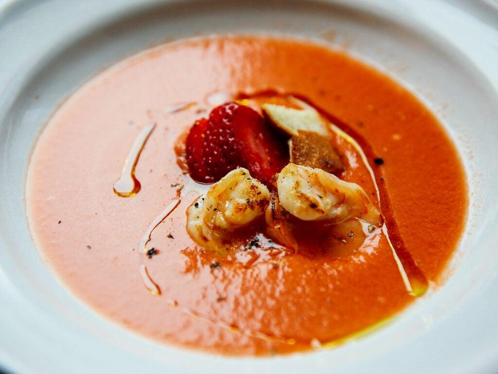 Strawberry, Watermelon, and Tomato Gazpacho