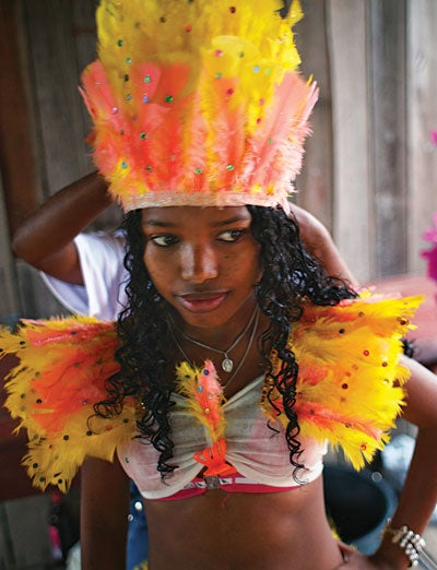 A girl dressed for a festival in the Marajo