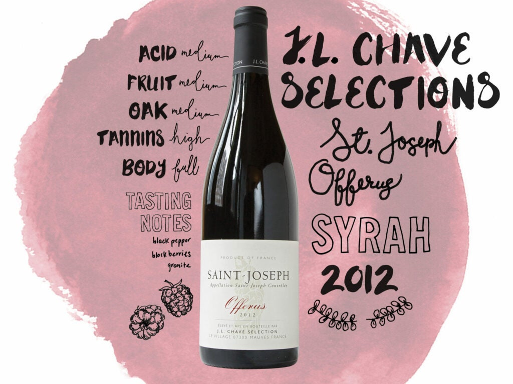J.L. Chave Selections St. Joseph 'Offerus' 201 wine illustrations, handlettering and typography