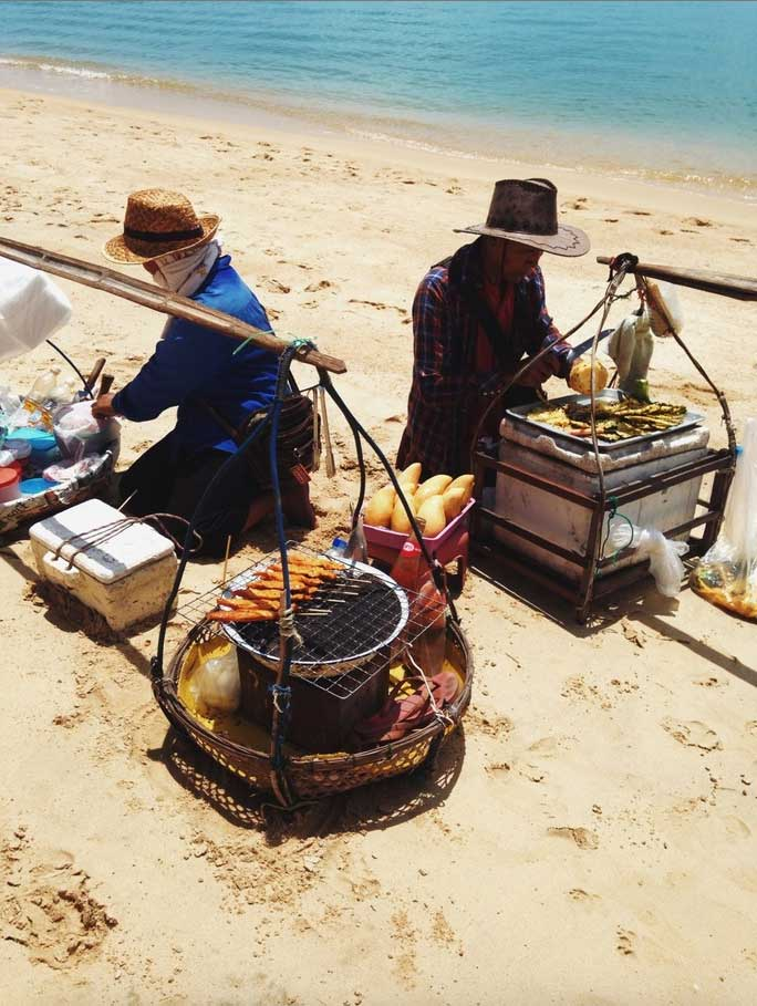 Vendors grilling on Ko Samui island in Thailand