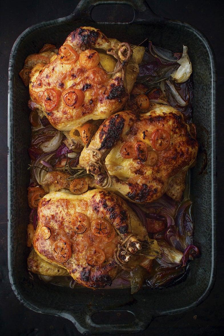 Kumquat-Glazed Cornish Game Hens with Bacon, Late Winter Feast