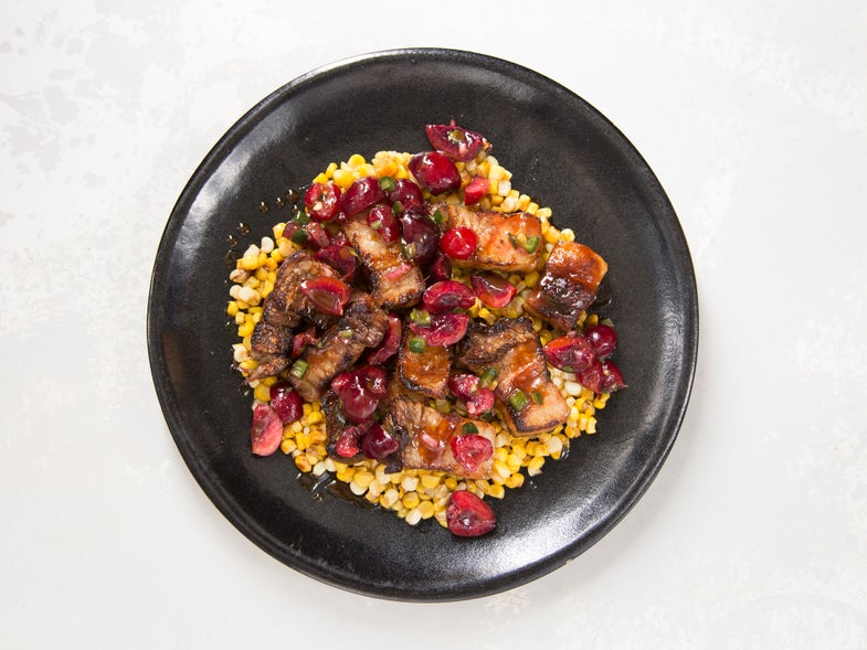 Grilled Pork Belly with Butter Corn and Sour-Sweet Cherry-Jalapeño Relish