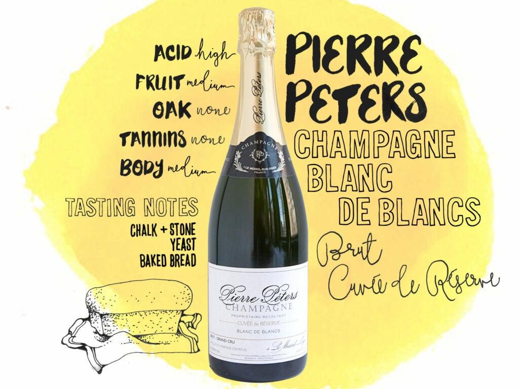 Pierre Peters Champagne, Blanc de Blancs, Brut, Cuvee de Reserve, Le Mesnil-Sur-Oger, France, wine illustrations