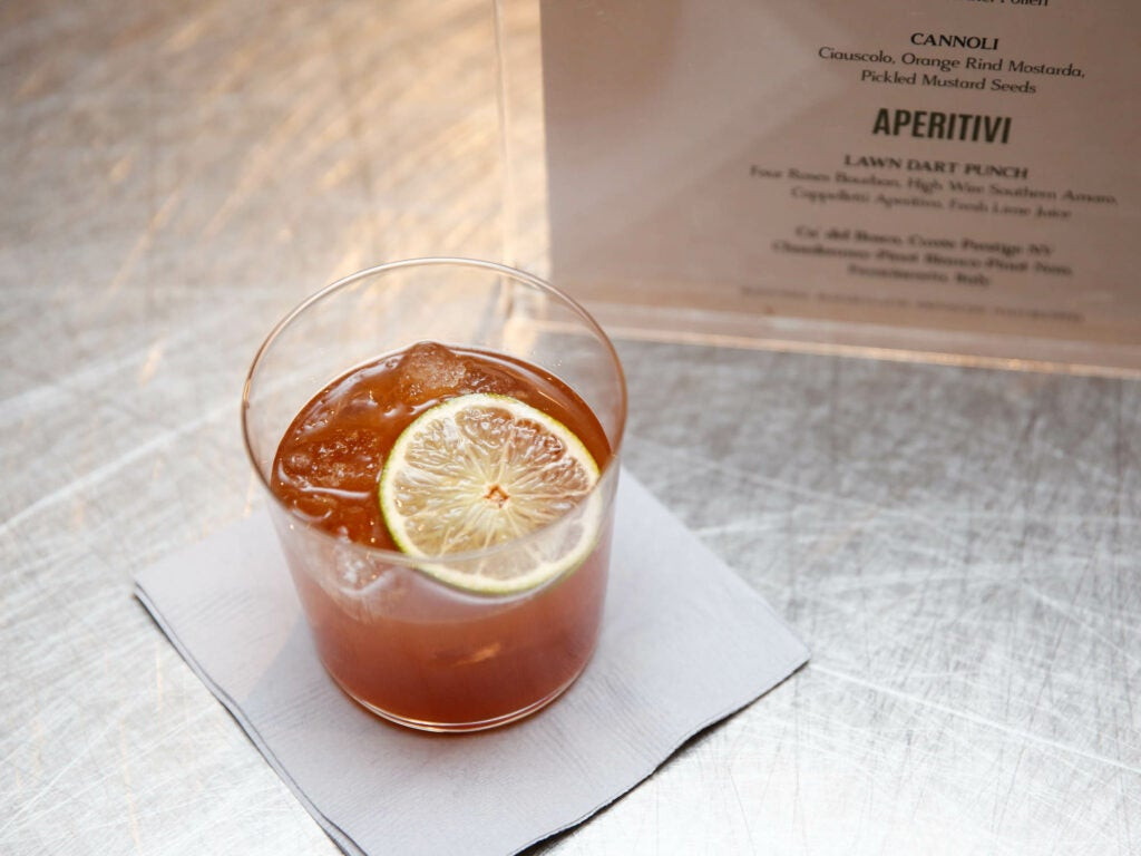 Chef's tart pre-dinner punch, featuring southern amaro and Four Roses Bourbon