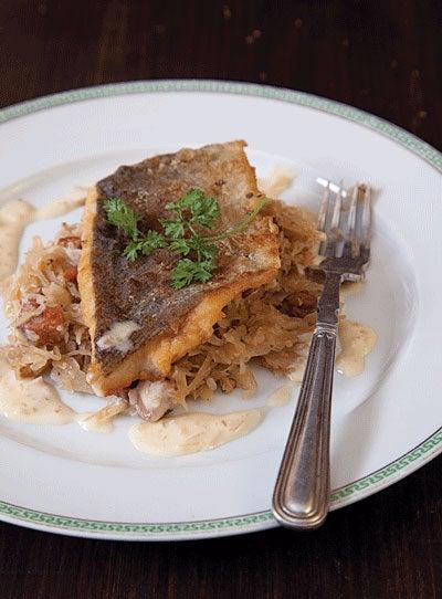 Sauerkraut with Fish in Cream Sauce