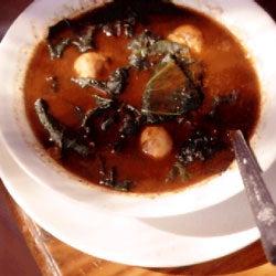Soupy Black Beans with Dumplings