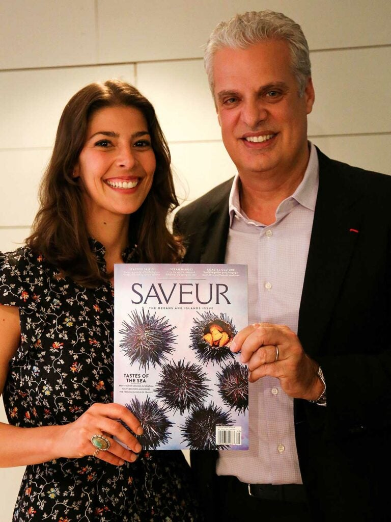 Adimando and Ripert pose for a photo with the star of the show