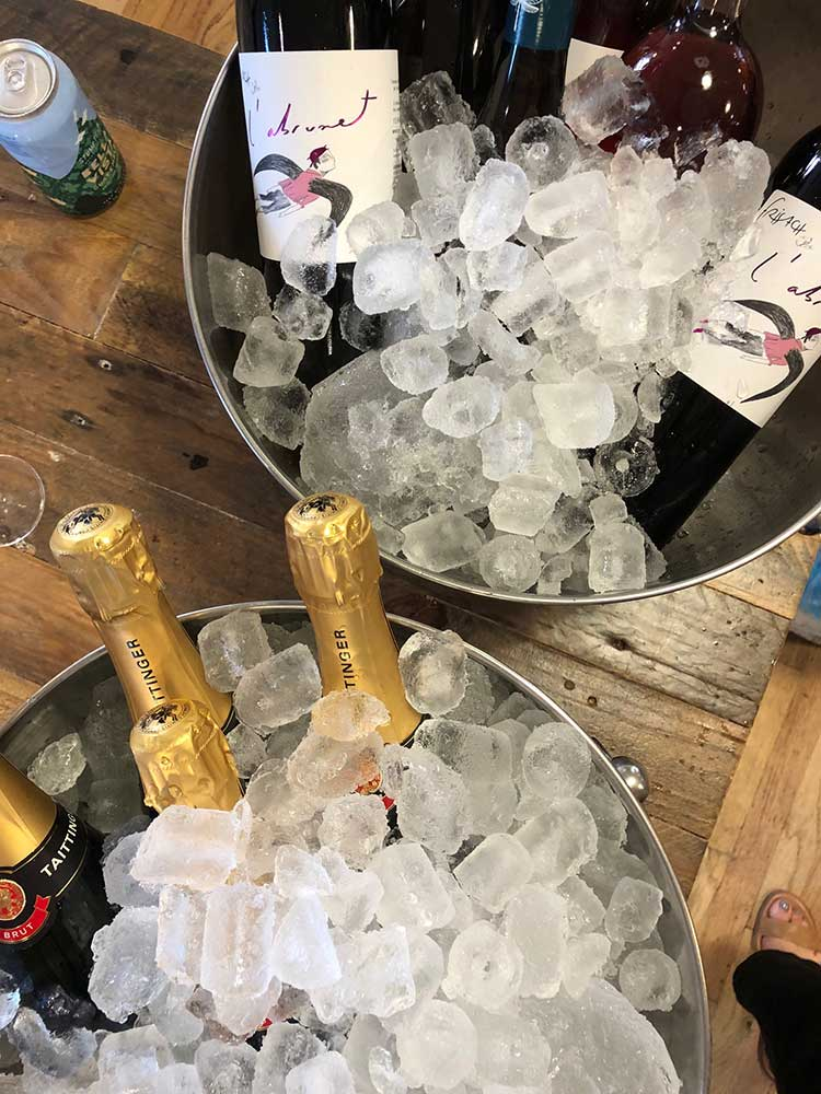 Lots of Taittinger on ice, as well as plenty of wonderful wines from Compagnie des Vins Surnaturels