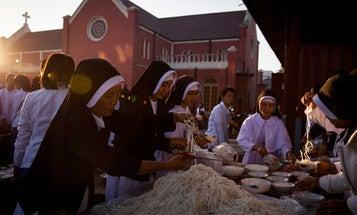 Breakfast in Myanmar: Making Noodles for Christmas
