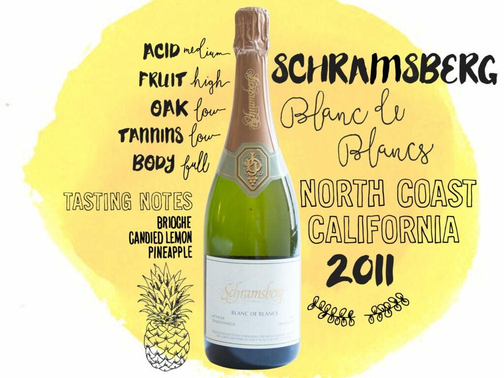 Schramsberg Blanc de Blancs, North Coast, California, 2011, wine illustrations
