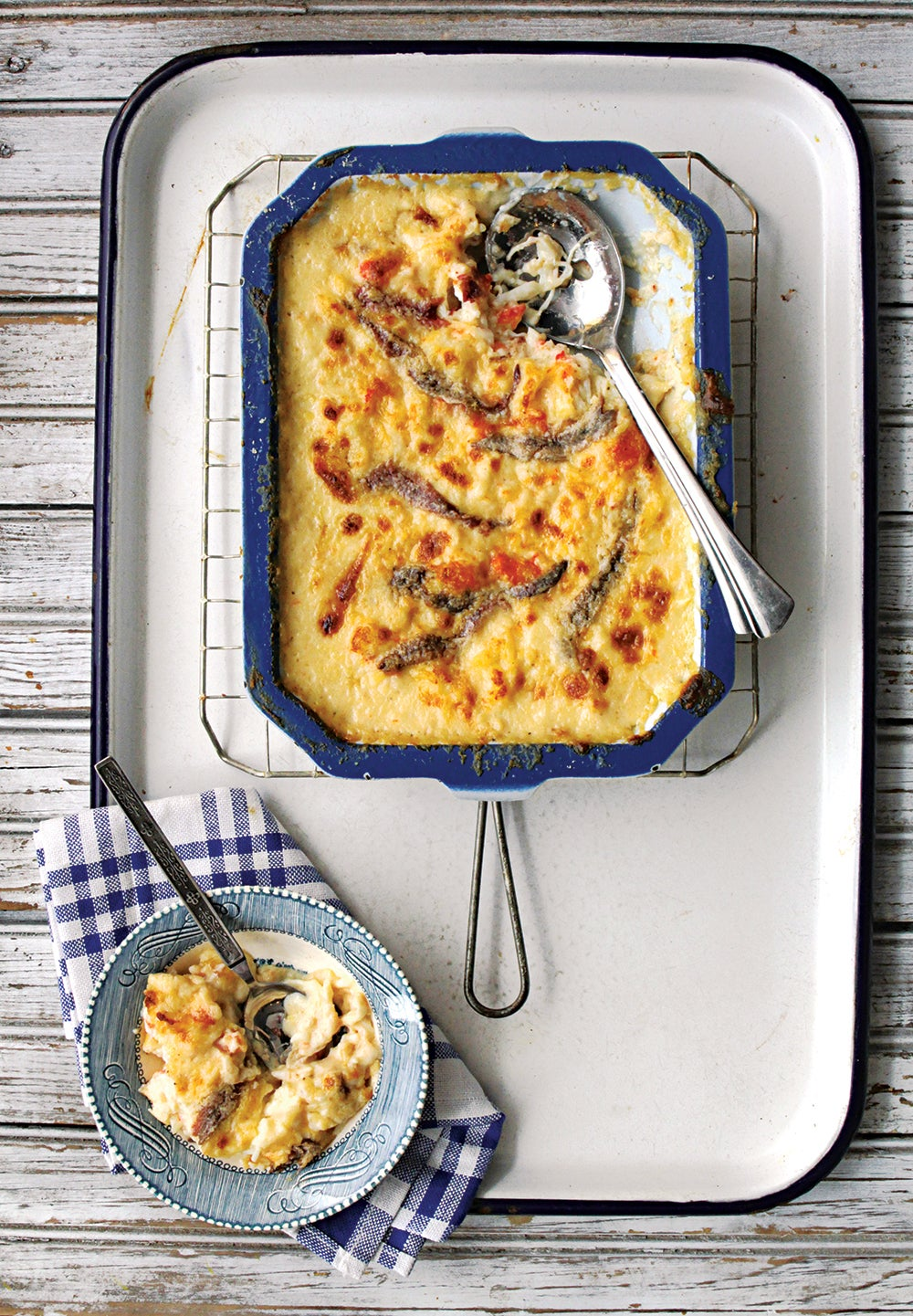 Crab Gratin with Anchovies and Västerbotten Cheese