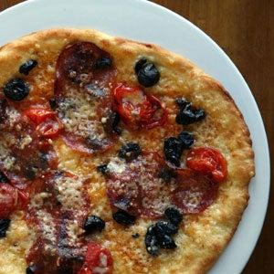 Soppressata, Tomato, and Olive Pizza