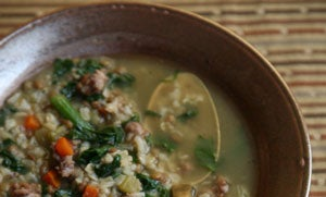 Brown Rice, Lentil, and Spinach Soup