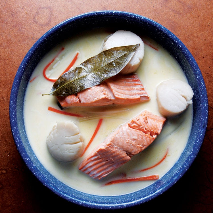 Salmon and Scallops à la Nage
