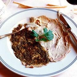 Roast Veal and Pork with a duo of Caper and Anchovy Sauces (Vitello con Salsa di Capperi e Maiale con Salsa di Acciughe)