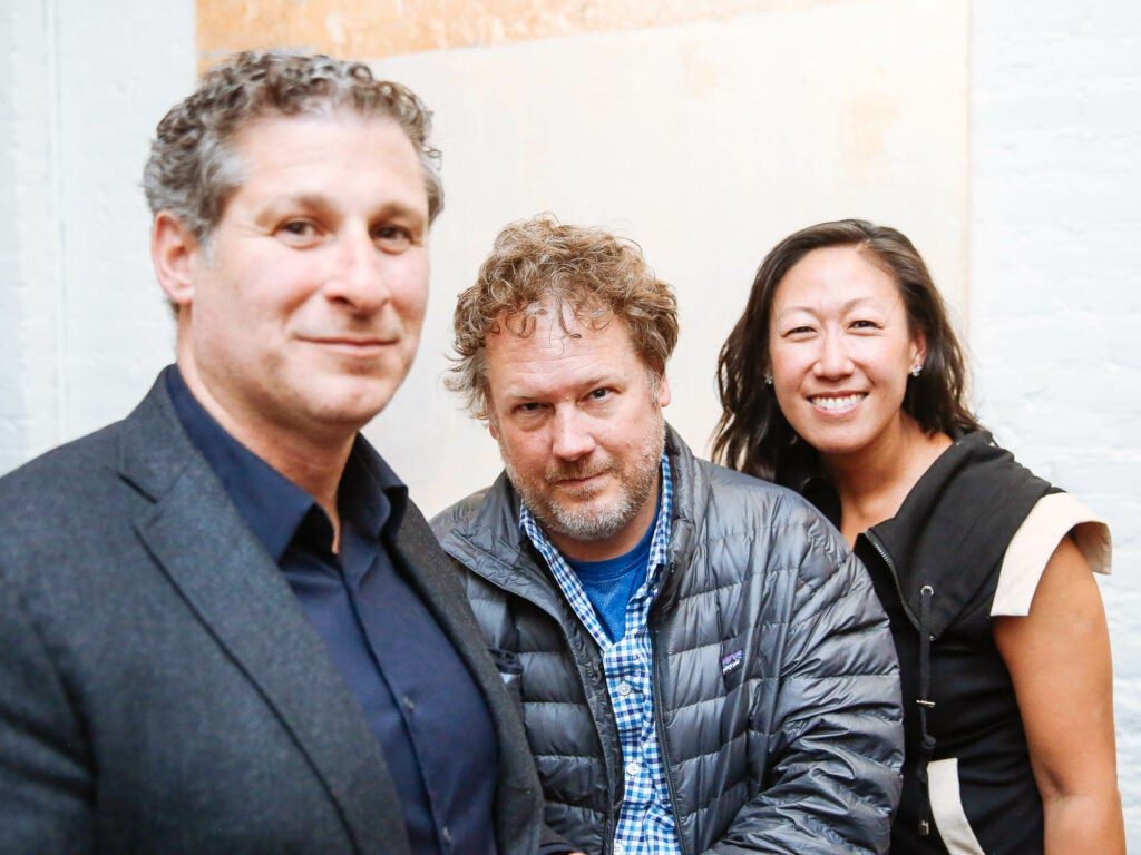 Novelist Chris Pavone, writer Jeff Gordinier and influencer Christine Yi strike a pose at the Fusco opening party.