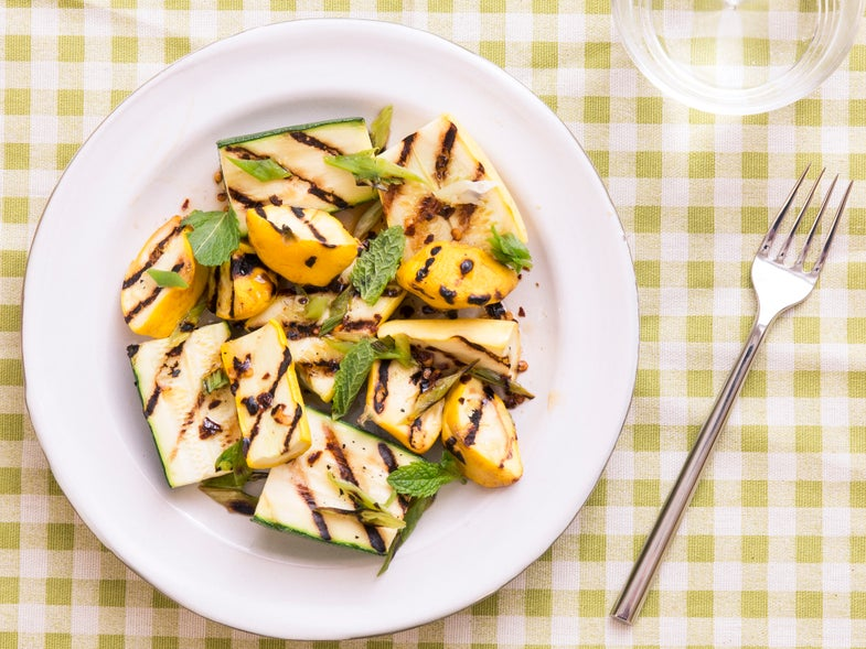 Grilled Squash with Scallions And Chile Honey Vinaigrette