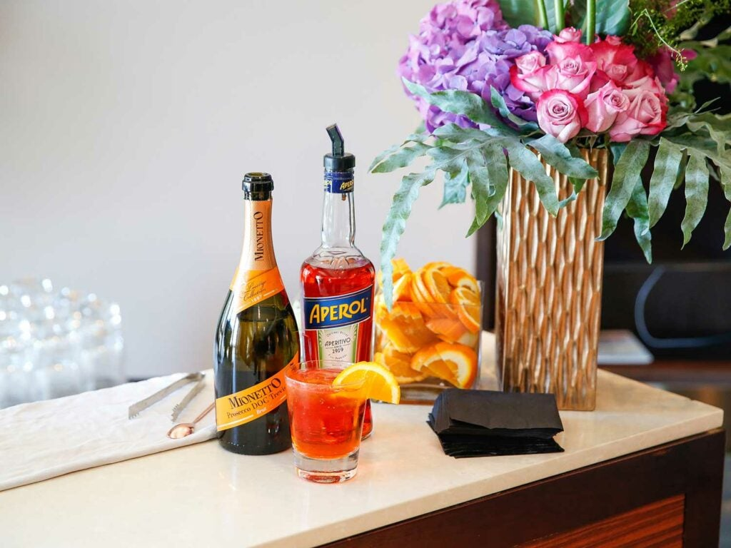 spritzes made with Mionetto and Aperol