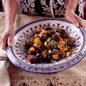 Ground Lamb Meatballs with Loquats