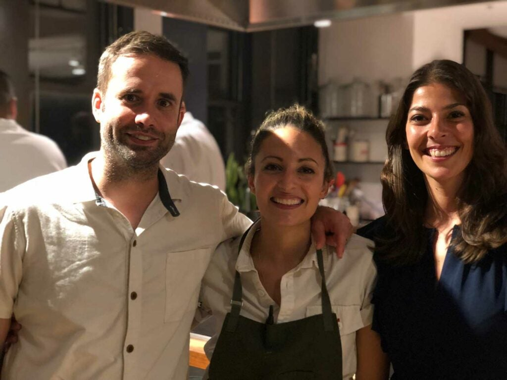 Chefs Scott Tacinelli and Angie Rito with executive editor Stacy Adimando.