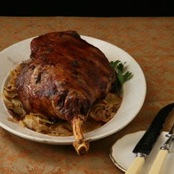 Roasted Leg of Lamb with Potato-Fennel Gratin