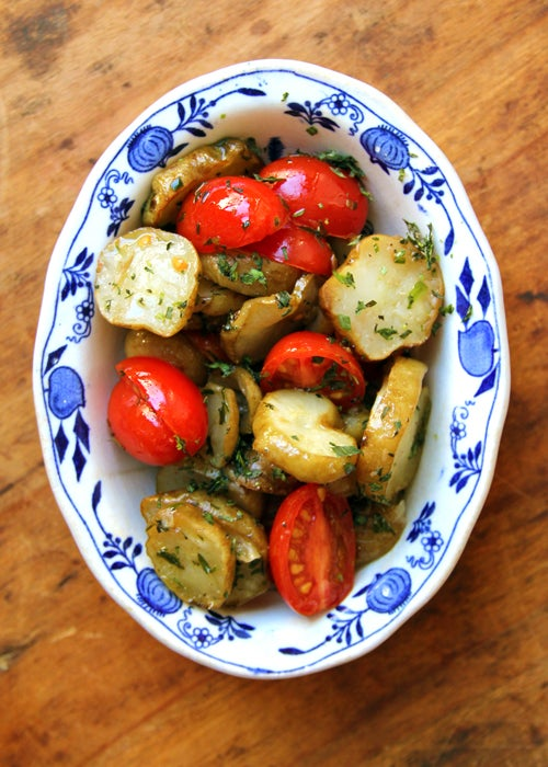 Roasted Sunchokes with Thyme, Grape Tomatoes, and Lemon