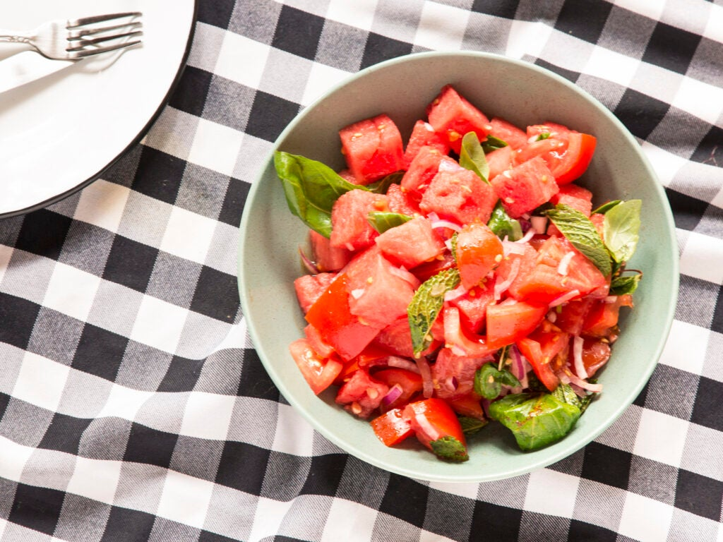 Watermelon Tomato Salad for 4th of July Recipes