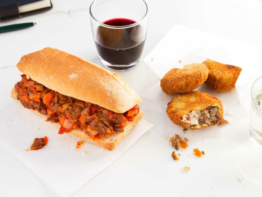 Beef Croquette and Braised Beef Sandwich