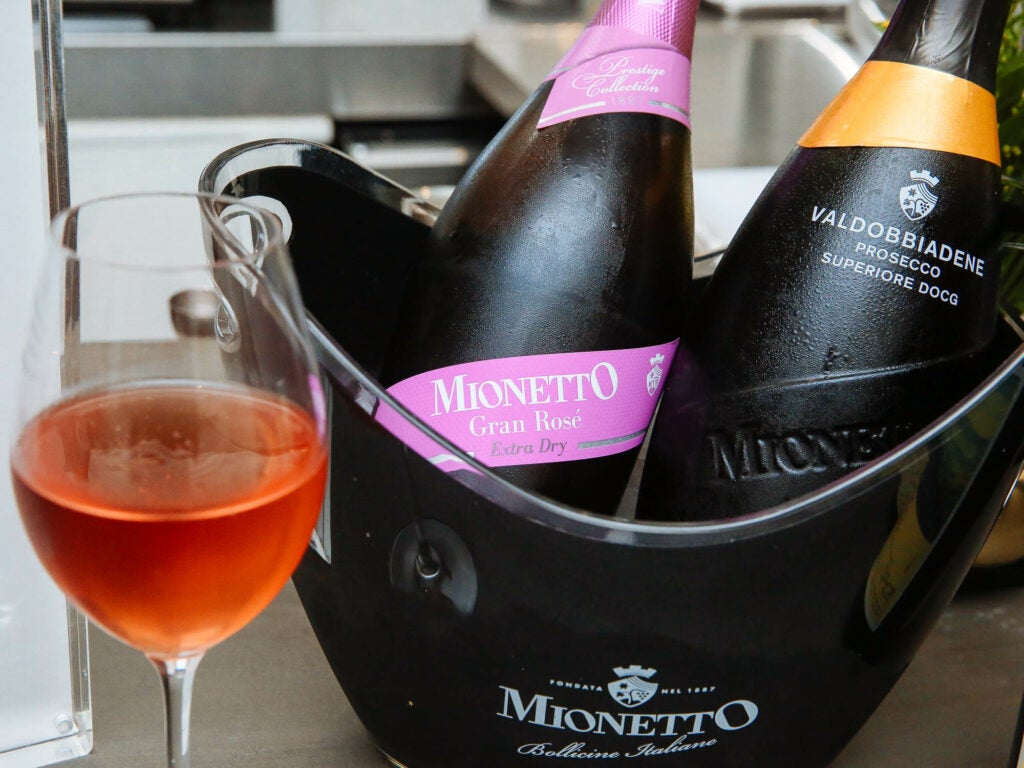 Guests sipped on wines from Mionetto Prosecco all night long at the Fusco opening party.