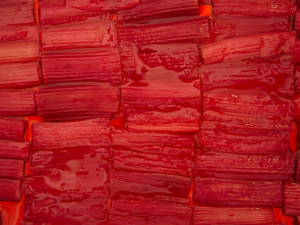 Ruby-red poached rhubarb