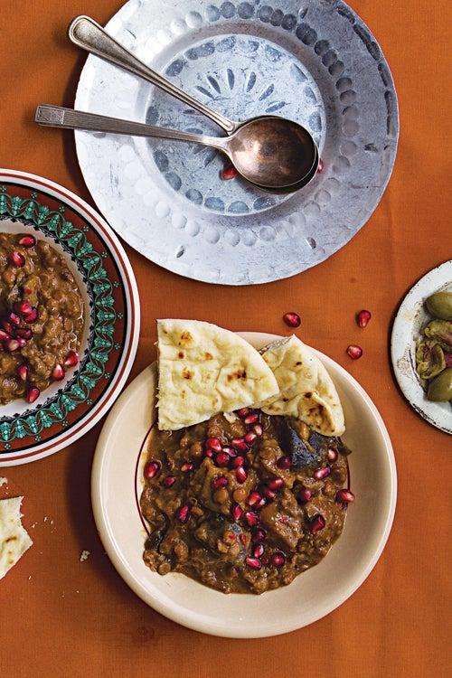 Rumaniyya (Sour Eggplant and Lentil Stew)