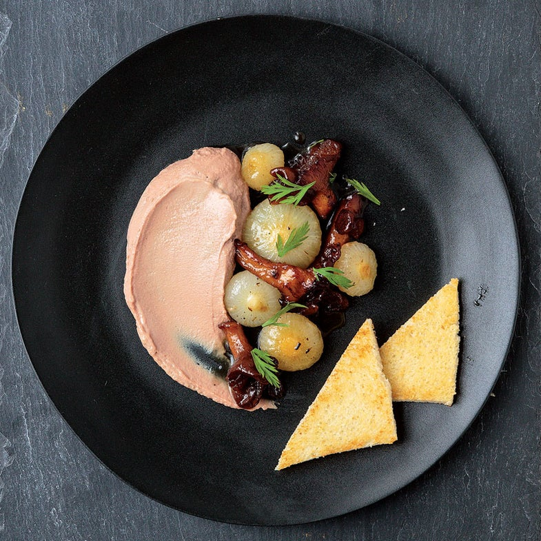 Duck Liver Mousse with Cipolline Onions and Mushrooms