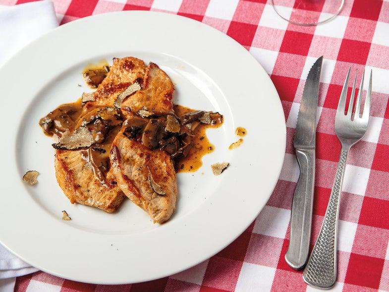 Pan-Fried Veal with Mushroom–Truffle Sauce