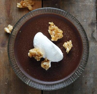 Ovaltine Pudding with Honeyed Rice Krispies