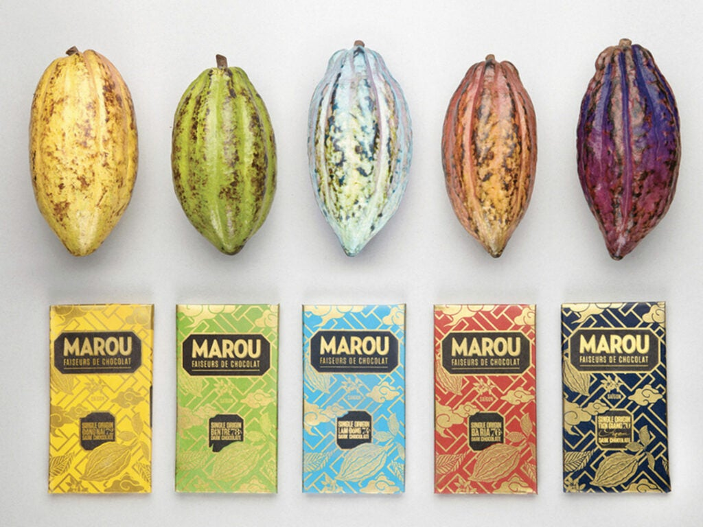 Cacao pods and Marou bars