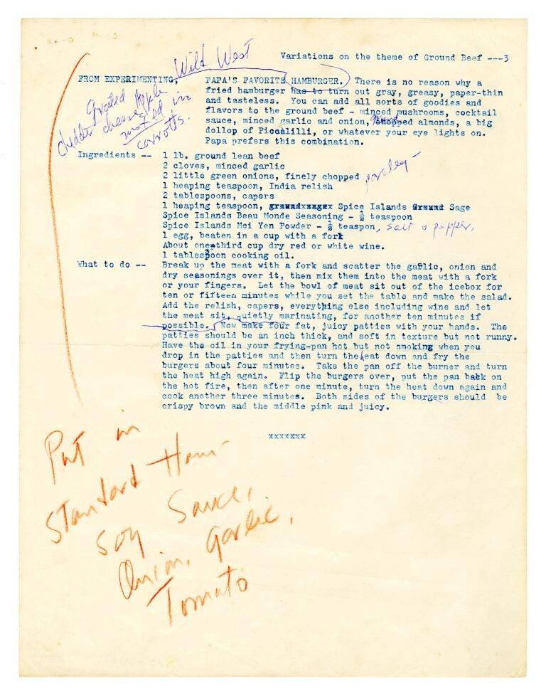 Hemingway's Hamburger Recipe