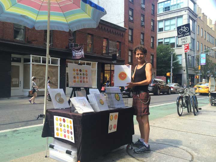 Tommy Flynn at his Sliced Open stand in SoHo, New York Cit