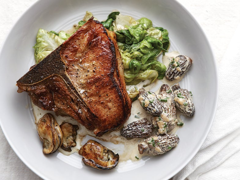 Veal Chops with Morels, Wilted Lettuce, Oysters, and Garlic-Parmesan Sauce