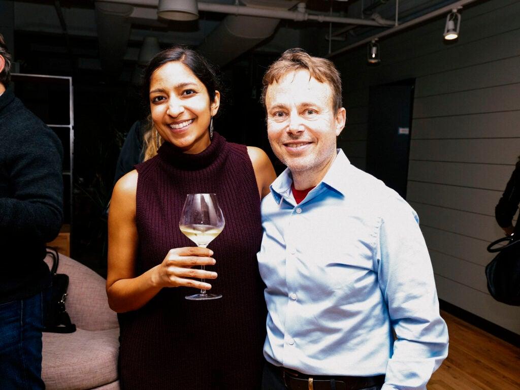 Writer Priya Krishna and literary agent David Black catch up with a glass of wine.