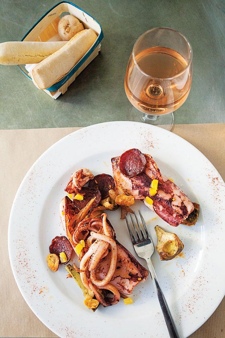 Calamari with Chorizo and Artichokes