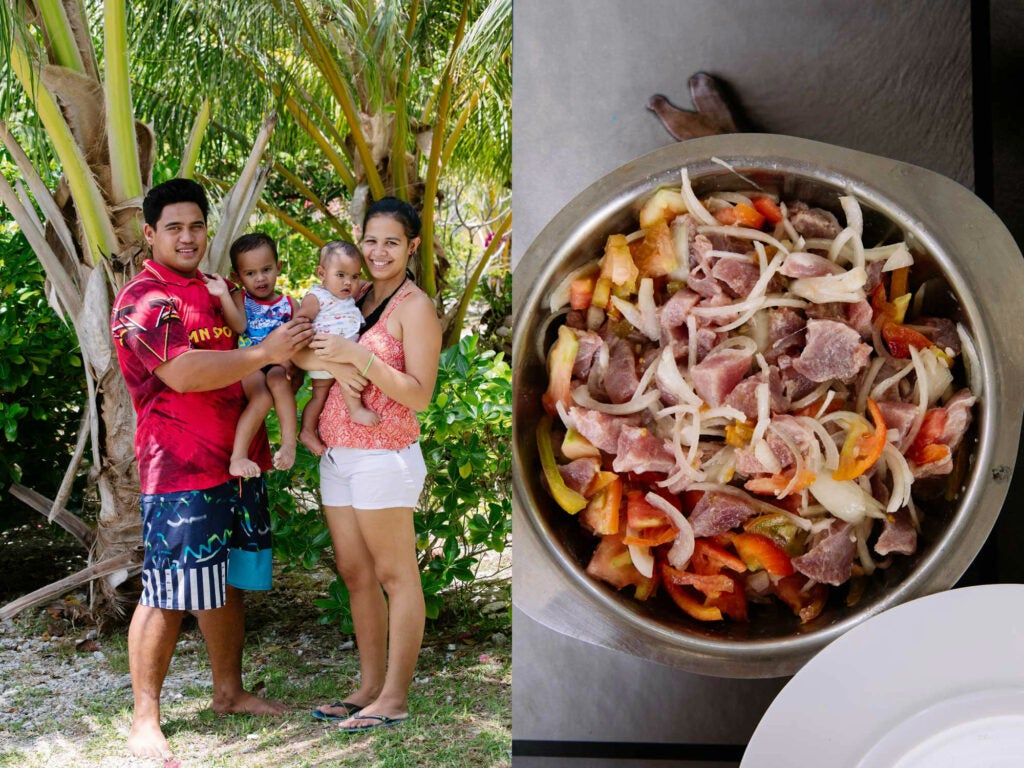 a tahitian family and a pot of tuna